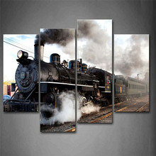 A Car And Train With Gray Smoke Steam Trains In Progress Wall Art Painting Print On Canvas Car Pictures For Home Decor