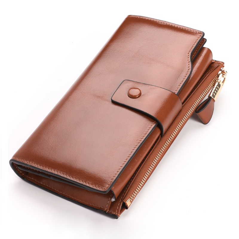 Women Female Genuine Leather Wallet Big Travel Zipper Womens Purse Ladies Long Handbag Phone Bag Credit Card Holder Coin Purse<br>