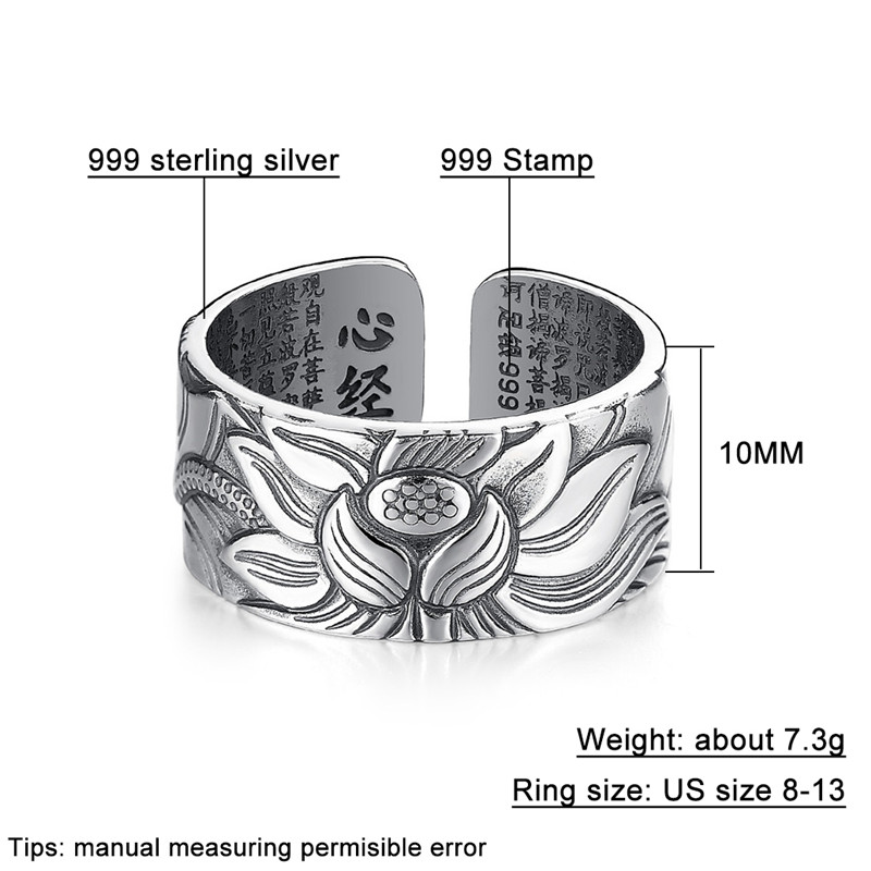 THE HEART OF PRAJNA PARAMITA SUTRA 100% 999 Pure Silver Lotus Flower Open Ring