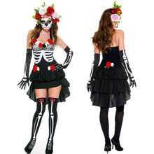 Skeleton Day of The Dead Costume Women's Sexy Sugar Skull Dia Flower Fairy Halloween ghost vampire bride Fancy Dress(China)