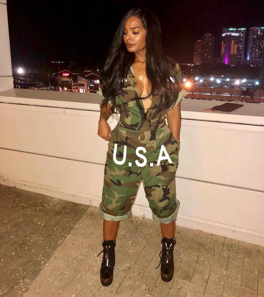 VAZN Women Playsuit Special Design 2018 New Popular Casual Style Camouflage Turtleneck Zip Full Sleeve Bodycon Romper LS6110