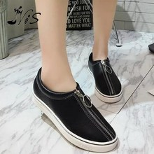 NIS Women Casual Shoes Zipper Ring Soft PU Leather Flat Shoes Women's Moccasins Platform Flats Summer Spring New Arrival