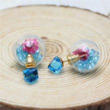 2016 new design summer style Dried flowers transparent glass crystal ball square drill earrings double side earrings for women(China)