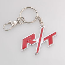 BBQ@FUKA Metal Alloy RT R/T Emblem  Car Keychain Key Ring Fit for Dodge Charger Ram 1500 Challenger Car accessary