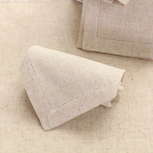 "Set of 12 Natural Linen Hemstitch Napkins Beautiful Hemstitched Linens Napkins 45x45cm(17.7X17.7"")"