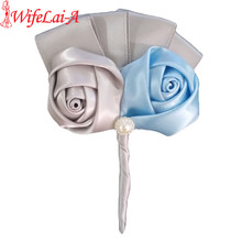 Wifelai-a Cheap Silver Baby Blue Satin Roses Flower Corsages Groom Silk Riboon Bridal Wedding Boutonniere Brooch XH0688J(China)
