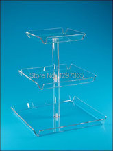 CHEAP 3 TIER  SQUARE Acrylic Wedding Cupcake Stand ACRYLIC BIRTHDAY CAKE STAND PSATRY RACK
