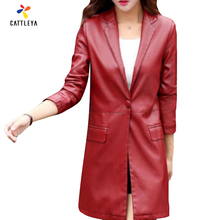 2017 New Arrival Spring Autumn Woman Midi PU Slim High Quality Coat Fashion Woman Black Red Wine Red Plus Size M-5XL Wind Coat