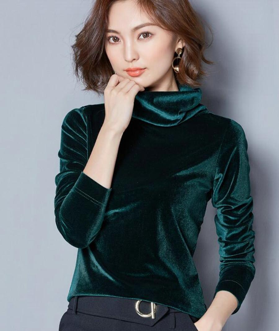 WANXIANGYUAN Women Long Sleeve Blouse 2017 Autumn Fashion Turtleneck Shirt Women Ladies Velvet Warm Blouses Shirts for Women 13