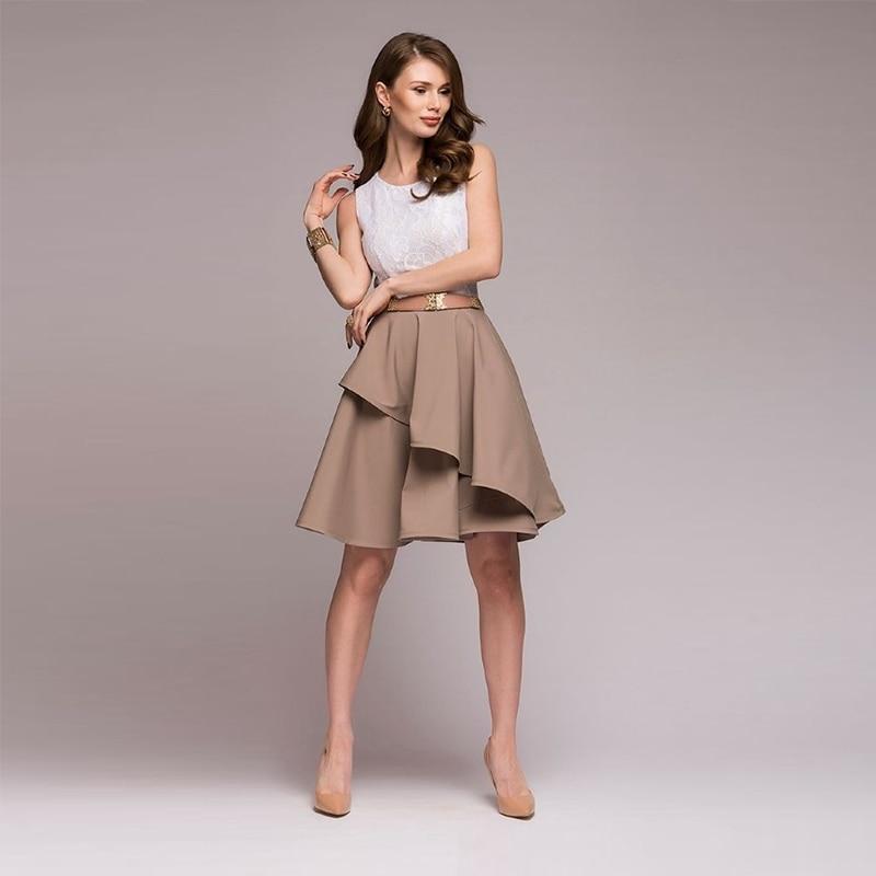 Lace Dress 2018 Women's New Fashion Summer Beach Sleeveless Flare Dresses Mini A-Line Party Dress Vestidos Plus Size 6