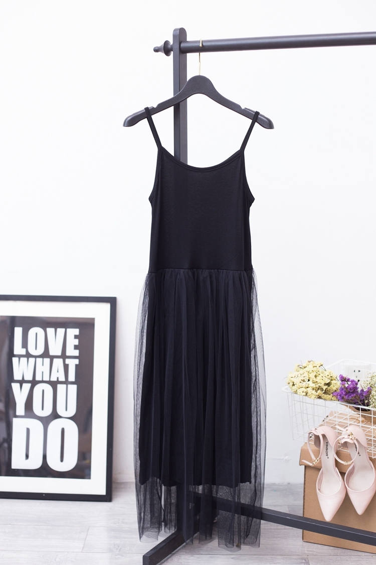 [EAM] 2017 Hot Fashion Pure Cotton Lace Split Joint Camisole Dress,5 colors available YD8100 4