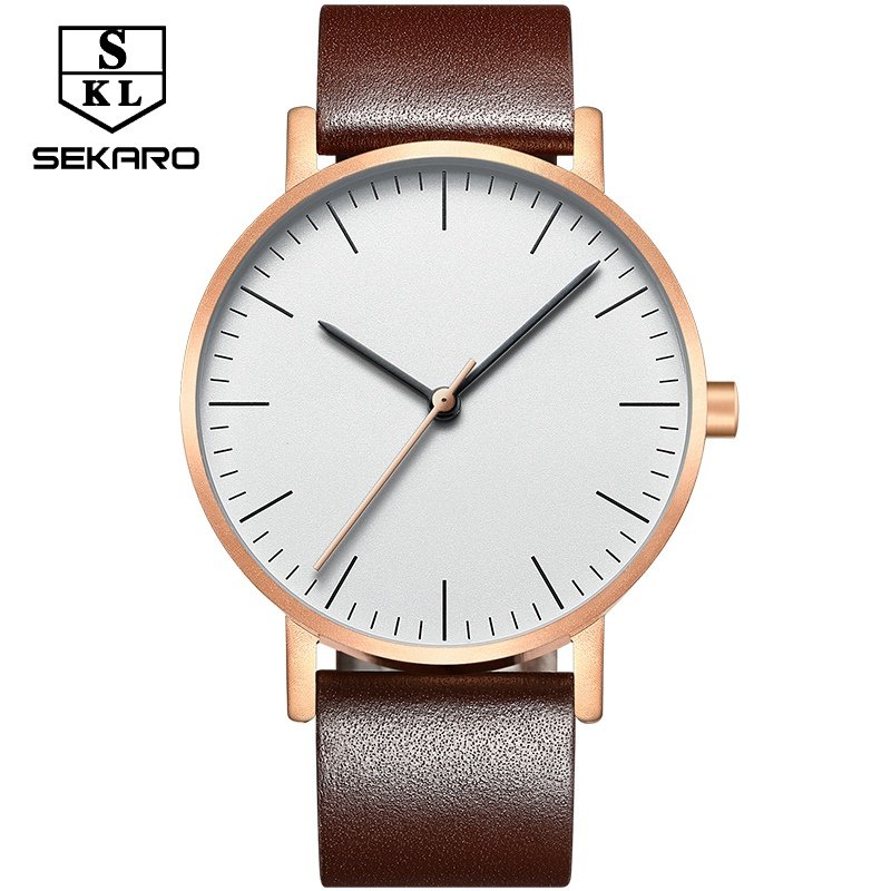 SEKARO Brand Women Waterproof Watch Top Brand Luxury Leather Simple Style Women Watches Clock Quartz Wristwatches For Gift<br>