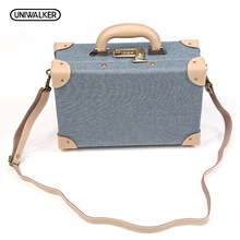 12 Inch PU Leather Small Suitcase Floral Decorative Box with Straps for Women(China)