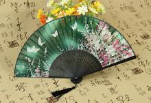 2016 New Chinese Japan Silk Dance Fan Hand Folding Fan bamboo Silk butterfly cherry party festivel gift(China)