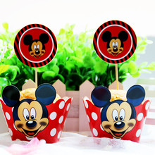 12pcs red   Wrapper Toppers mickey mouse Cupcake  happy birthday party Supplies  Dessert shop cake decoration