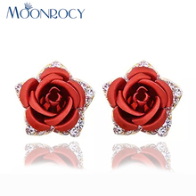 Buy MOONROCY Free Fashion Austrian Crystal Earrings Women Rose Gold Color Jewelry flower red blue earrings gift for $4.24 in AliExpress store