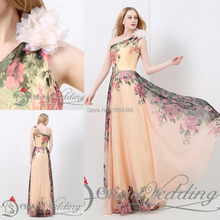 Free Shipping Pretty Sexy Brand New Fashion One Shoulder Long Printed Evening Dress Flower Party Prom Dresses Pattern 2015