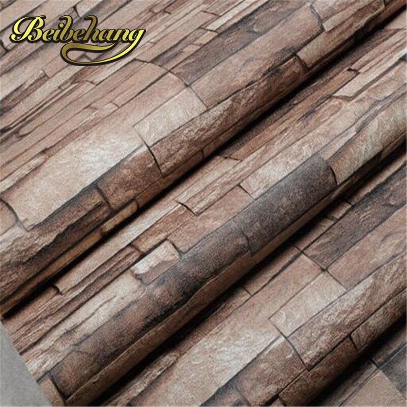 beibehang New 3D Luxury Wood Blocks Effect Brown Stone Brick 10M Vinyl Wallpaper Roll Living Room Background Wall Decor Art <br>