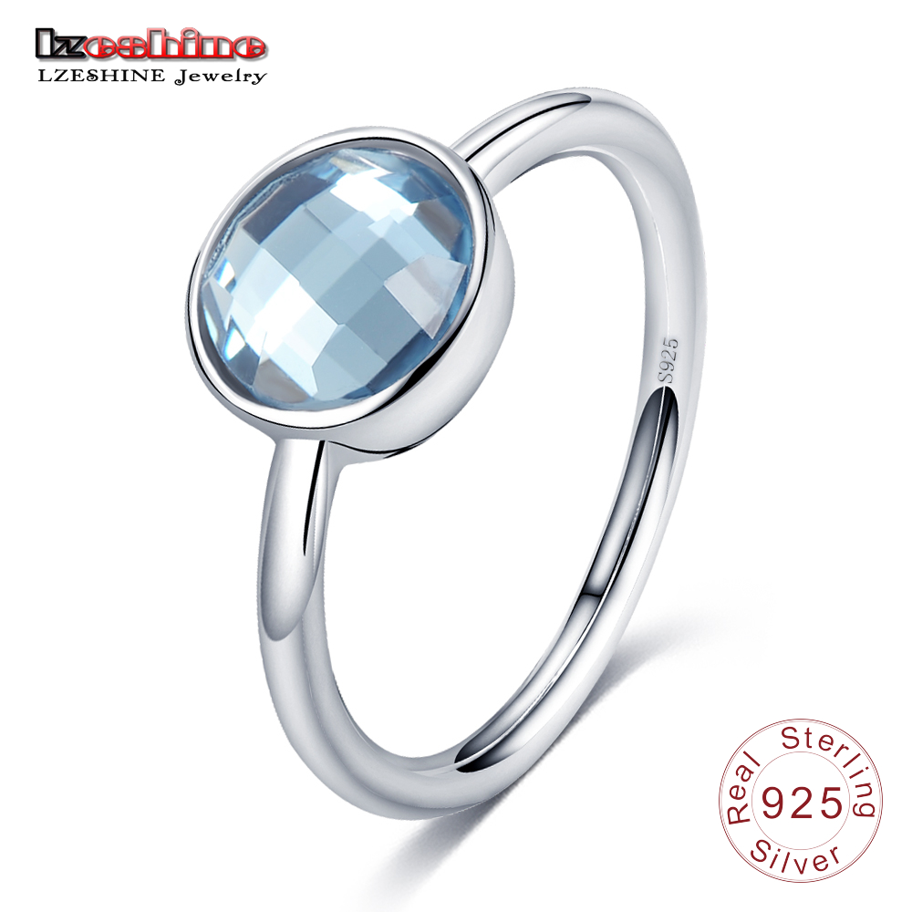 LZESHINE Blue Stone Finger Ring Round Lovely Shape Pure 925 Sterling Silver Rings for Women Fashion Luxury Jewelry PSRI0007-B(China (Mainland))