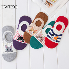 TWTZQ 5 Pairs/Lot Summer Cute Cats Dog Invisible Socks For Women Low Cut Slippers Boat Socks Short Ankle Female Socks 3WZ066