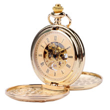 Luxury Gold Antique Mechanical Skeleton Pocket Watch Double Open Side Roman Numbers Pendant with Fob Chain Reloj De Bolsillo