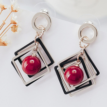 Doreen Box Alloy Silver Round Stud Earrings Silver Black Hollow Square White Red Limited Pearl Beads Fashion Jewelry,1 Pair(China)