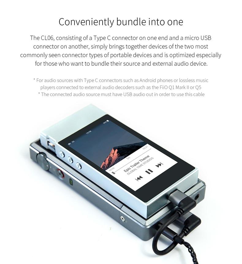 FiiO ML06 Micro USB to Micro USB Decode OTG Data Cable for FiiO Q1II//Q5//M7 DAP