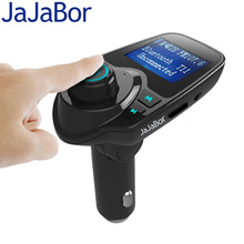 JaJaBor Bluetooth Car Kit Hands Free FM Transmitter Handsfree Music Receiver 5V Dual USB Charger Wireless Car MP3 Player T11