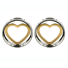 10-25mm 48pcs stainless steel heart plug screw fit double flared saddle ear plug flesh tunnel SDF059