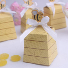 Free Shipping 60Pcs/lot Bee Candy Box Wedding Decoration Gift Packaging Box Chocolate Box Birthday Party Decorations Kids(China)