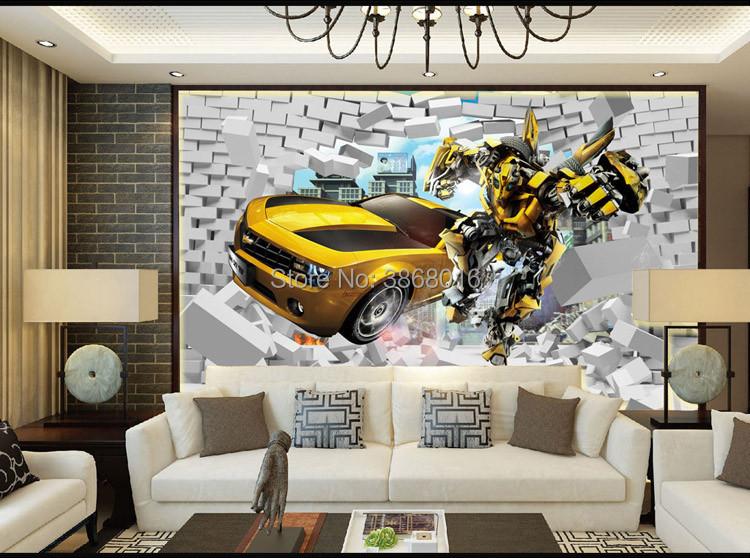 HTB1BXfehrGYBuNjy0Foq6AiBFXaI - 3d retro creative car broken wall paper for children room