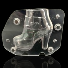 Plastic DIY 3D High-Heel Shoe Chocolate Mold Stereo womens boots with heel shoe Candy Jelly Mold Baking Cake Decorating Tools(China)
