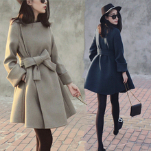 2017 New Fashion Slim A-Line Wool Ruffles Dress Coat Female Hot Sale O-Neck Medium Long Belt Cardigan Lady Outerwear WUJ0447