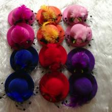2015 hot selling 6pcs/lot girl feather hair clips, women hair accessories mini top hat flower hairclip 7cm free shipping
