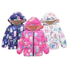 Fashion Winter Warm Newborn Winter Baby Kids Boys Girls Hooded Floral Coat Jacket Outwear 2-7Y(China)