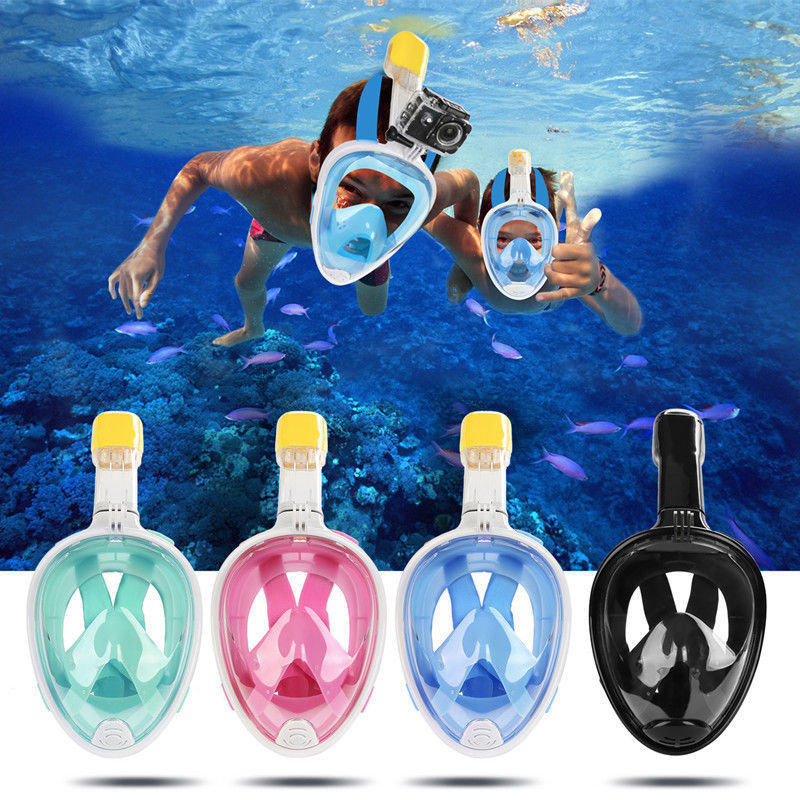 Adults And Kids Practical Swimming Full Face Mask Surface Diving Snorkel Scuba for GoPro Swim L1 Holiday Beach Swim Wear<br>