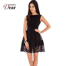 Comeondear Fit And flare Skater Dress Round Neck Sleeveless Lace Insert Cute Short Dress RJ80049 Zip Plus Size Sweet Black Dress(China)
