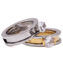 Gold-Color Stainless Steel Wedding Rings Made With Austrian Crystal Stellux Cubic Zirconia
