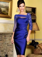 Royal Blue Satin Straight Knee Length Evening Dress Lace Applique Beaded Pleat Ruched Three Quarter Sleeves Prom Dresses