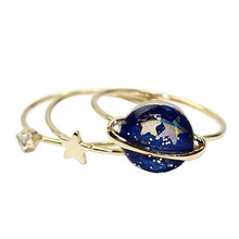 Hot sell 3 pcs /lot Cute Blue Star Planet Saturn 13MM Joint Finger Rings Set For Women Girls Trendy Jewelry