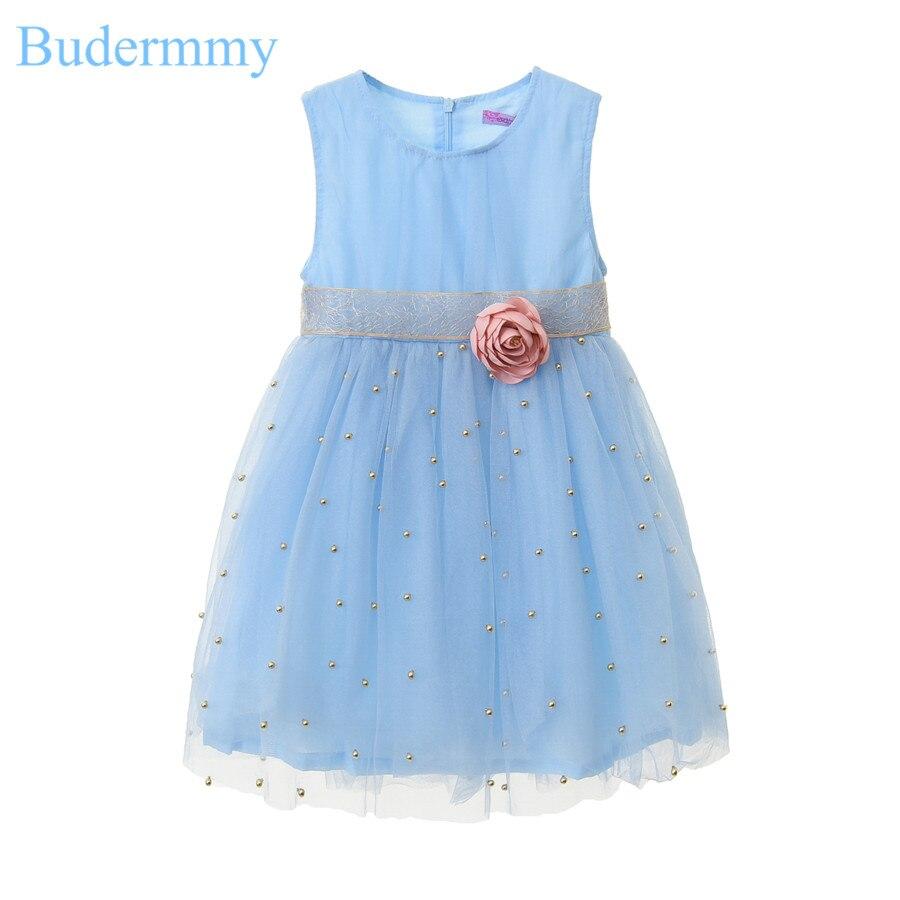 Flower Girls Dress Golden Beading Bow Dress Blue Purple Silver Wedding Dress 5 6 7 8 10 Years Children Clothes Vestido Infantil<br>