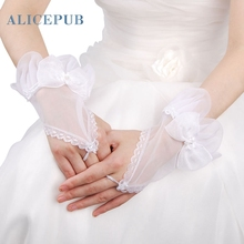 Fingerless Floral White Organza Wedding Gloves Bow Bridal Prom Accessories Evening Party Decoration Embellished Free Shipping