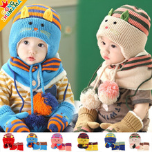 2016 New Children Winter Kids Hats Beanie Skulles Boy Girls Animal Caps Knit Cute Fur Cat Style Knitted Baby Hat Scarf Set Caps