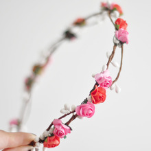 2017 6PCs Wholesale Wedding Flower Crown Pink Orange Hair Bands Rustic White berries and White Leaf Crown for Party,Prom