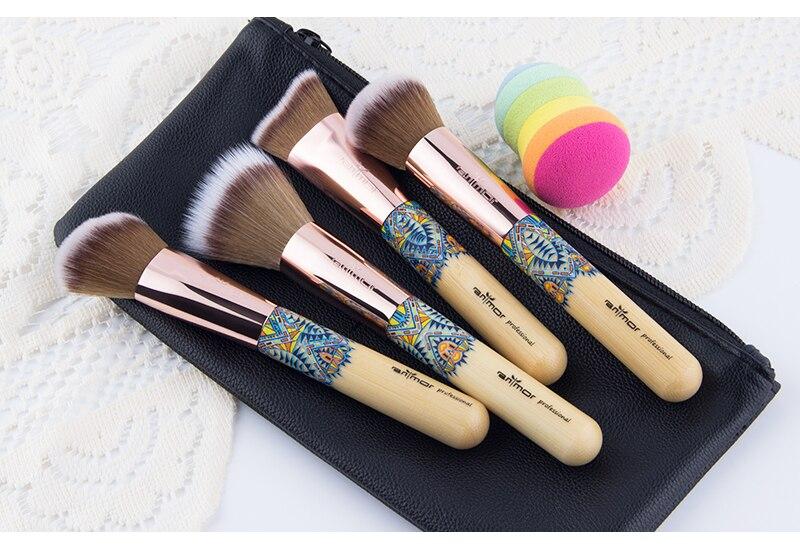 Nouveau Maquillage Brosses 12 pcs Ensemble En Bambou Make Up Brosse Souple Synthétique Collection Kit avec Poudre Contour Fard À Paupières Sourcils Brosses 14