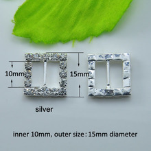 50pcs 15mm Square Clear Rhinestone Buckle Invitation Ribbon Slider For Wedding Supplies Decoration(L0003)