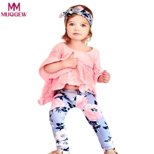 2pcs Ruffle Long Sleeve Fold T-shirt Floral Print Pants New 2018 Newborn Baby Girls Clothes Leggings 2pcs Outfits Clothes Set(China)