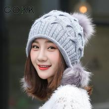COKK Winter Hat Female Pompom Fur Hats For Women Ladies Knit Cap Ear Protection Thick Warm Wool Beanie Ski Chapeu Gorros Bonnet(China)