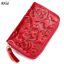 Buy Rfid Genuine Leather Flower Print Female ID Card Holder Business Card Wallet Women Bank Credit Card Holder Coin Pocket Bag DC346 for $7.99 in AliExpress store