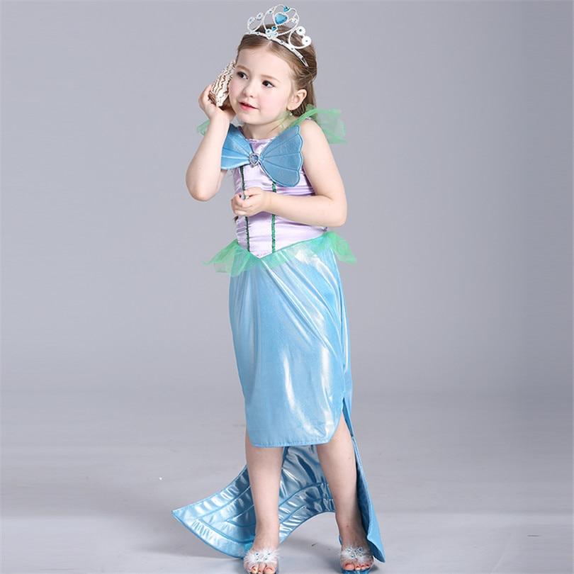 Mermaid Princess Dresses Children Girls Dress High Quality Fishtail Hem Special Mesh Shell Shape Trumpet Dresses For Girl<br><br>Aliexpress